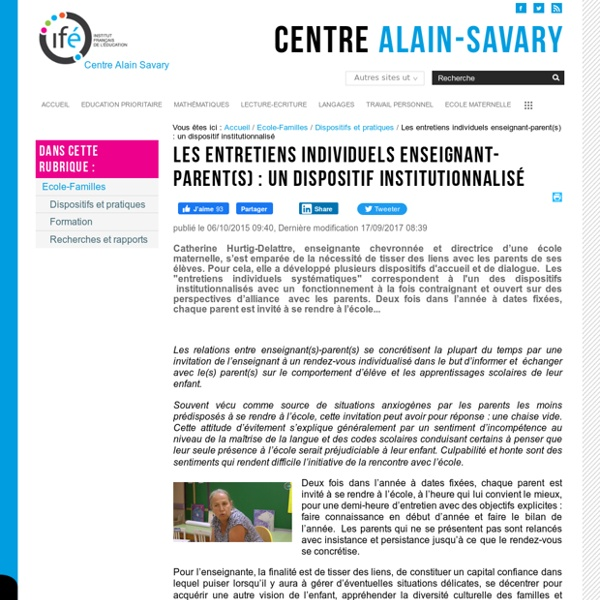 Les entretiens individuels enseignant-parent(s) : un dispositif institutionnalisé