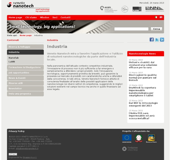 Industria - Veneto Nanotech - Il Distretto Veneto delle Nanotecnologie