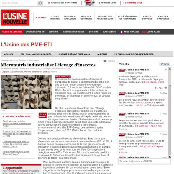 Micronutris industrialise l'élevage d'insectes - Agroalimentaire