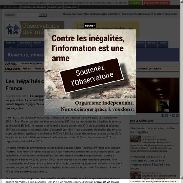 Les inégalités continuent à augmenter en France