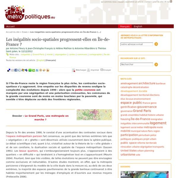 Les inégalités socio-spatiales progressent-elles en Île-de-France