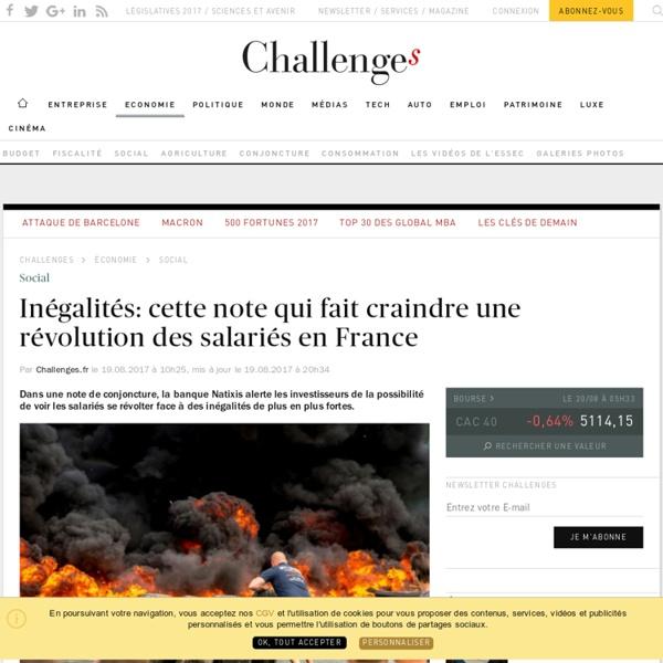 Inégalités: cette note de Natixis qui fait craindre une révolution des salariés en France - Challenges.fr