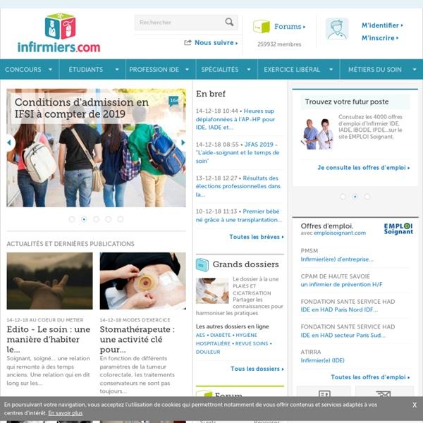 Infirmiers.com - communauté infirmière : concours infirmier, cours ifsi, tfe, actu, formations, protocoles.