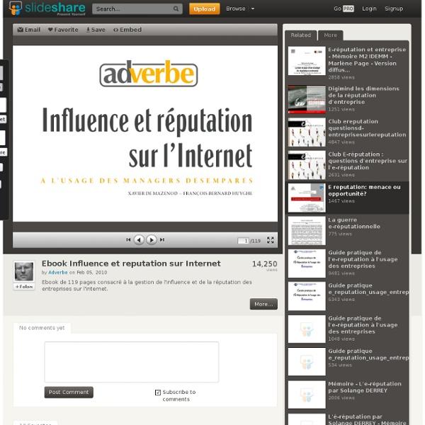 Ebook Influence et reputation sur Internet