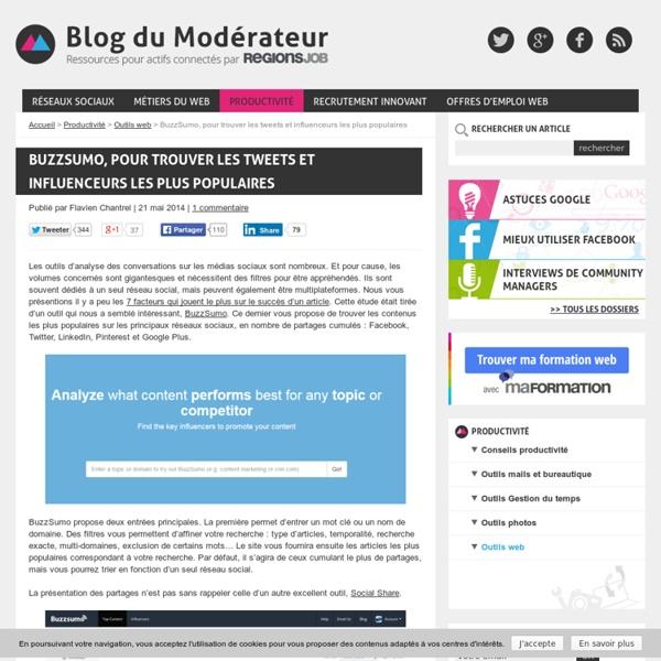 BuzzSumo, pour trouver les tweets et influenceurs les plus populaires