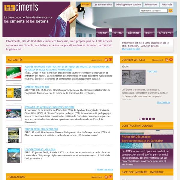 Infociments : la base documentaire de référence sur les ciments et bétons
