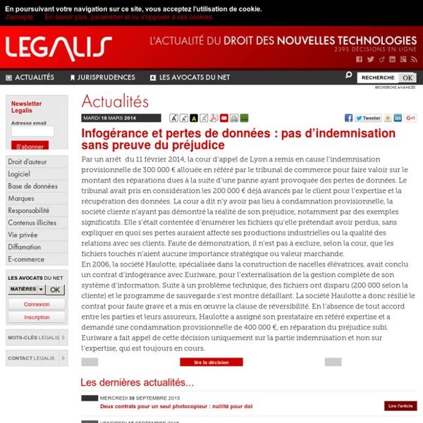 Infogérance et pertes de données: pas d'indemnisation sans preuve du préjudice