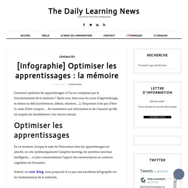 [Infographie] Optimiser les apprentissages : la mémoire