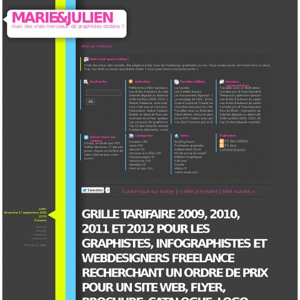 Grille Tarifaire 2009 2010 2011 Et 2012 Pour Les Graphistes Infographistes Webdesigners Freelance Recherchant Un Ordre