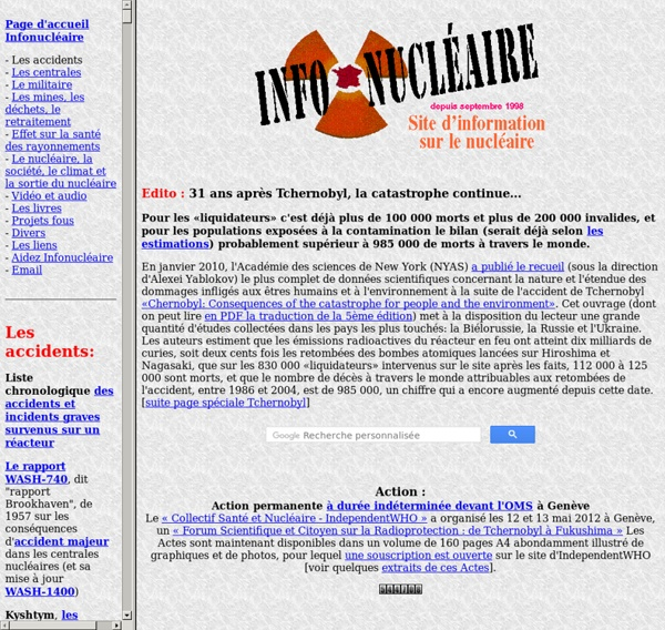 Infonucléaire: Revue alternative d'information sur le nucléaire, dossiers, risques, vulgarisation...