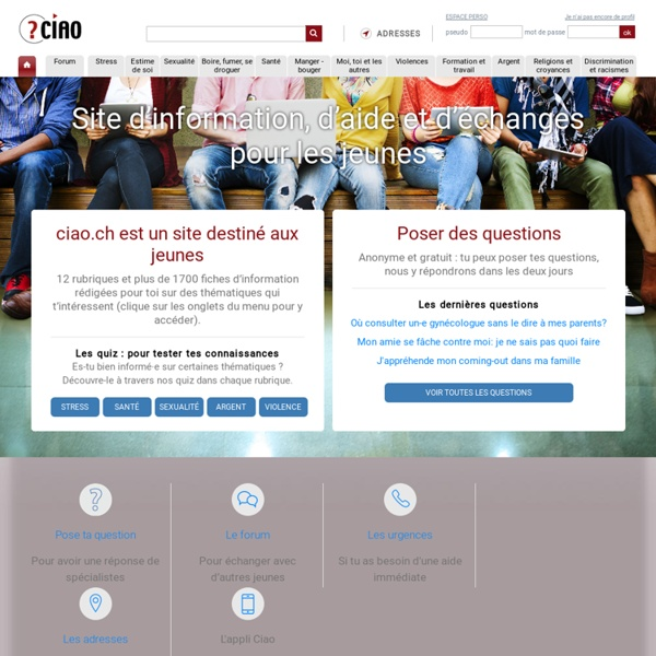 Site d'aide et information pour les adolescents - Page d'accueil