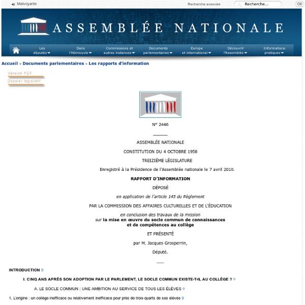 2446 - Rapport d'information de M. Jacques Grosperrin déposé