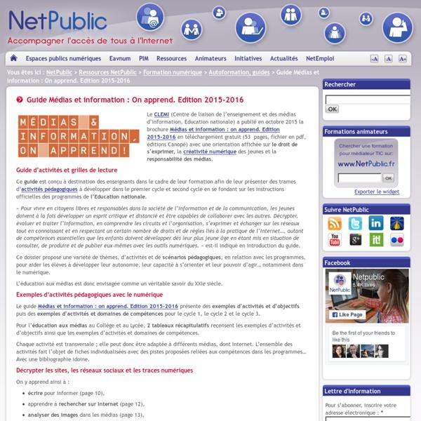 Guide Médias et information : On apprend. Edition 2015-2016