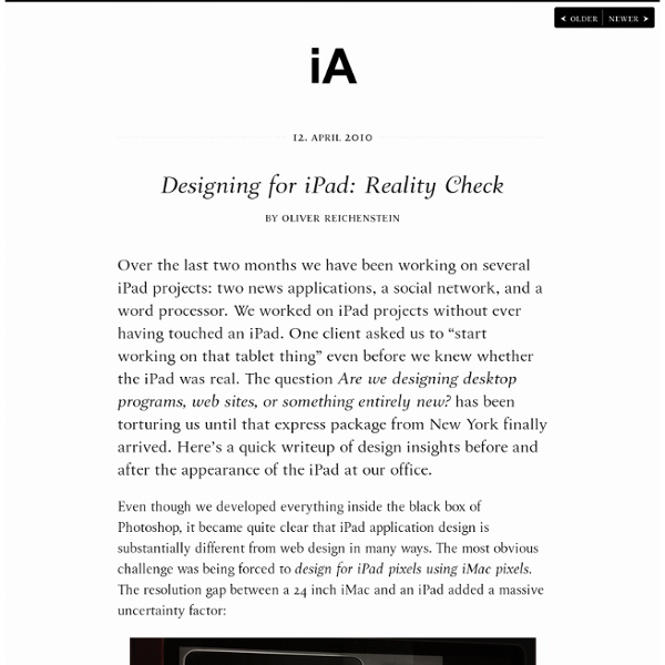 Designing for iPad: Reality Check