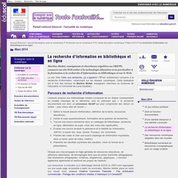La recherche d'information en bibliothèque et en ligne — Enseigner avec le numérique
