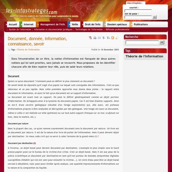 Document, donnée, information, connaissance, savoir