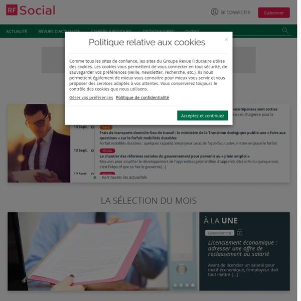 RF social : l'information sur la gestion du personnel (droit du travail, déclaration sociale...)