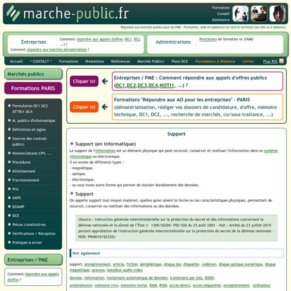 Support information JO journal officiel marches publics definition