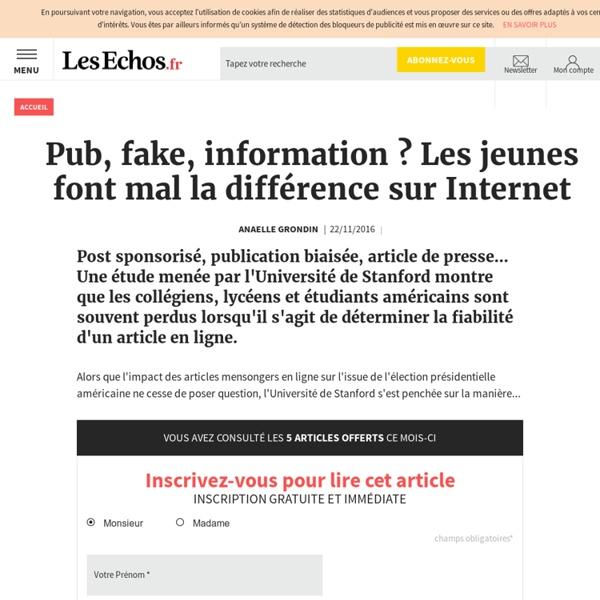 Pub, fake, information? Les jeunes font mal la différence sur Internet