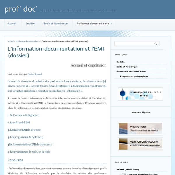L'information-documentation et l'EMI (dossier) - prof' doc'