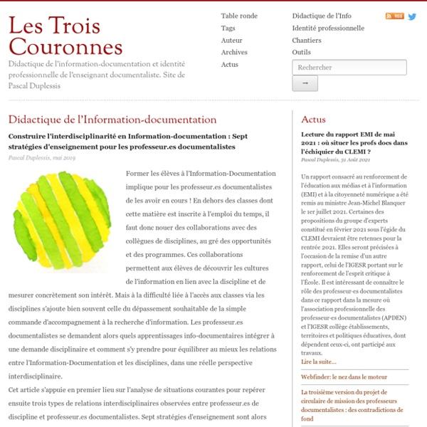Les Trois Couronnes - Didactique de l'Information Documentation - Pascal Duplessis