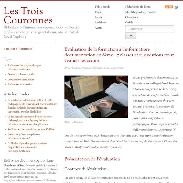 Evaluation de la formation à l'information-documentation en 6ème : 7 classes et 13 questions pour évaluer les acquis