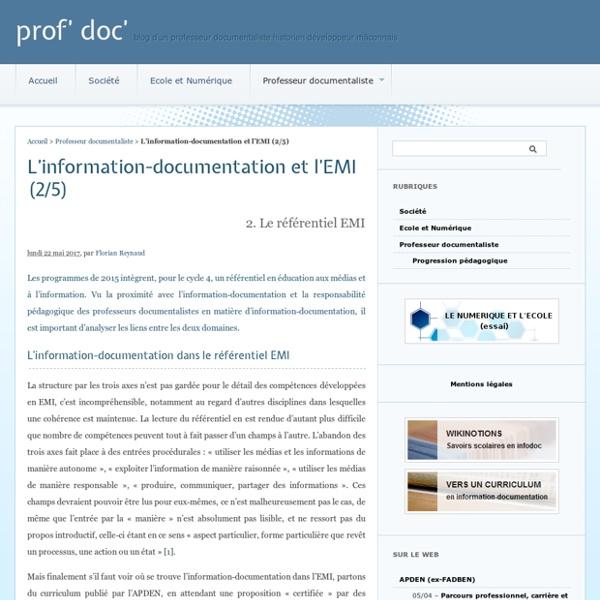 L'information-documentation et l'EMI (2/5) - prof' doc'