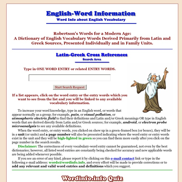 Word Information - an English dictionary about English vocabulary words and etymologies derived primarily from Latin and Greek word origins