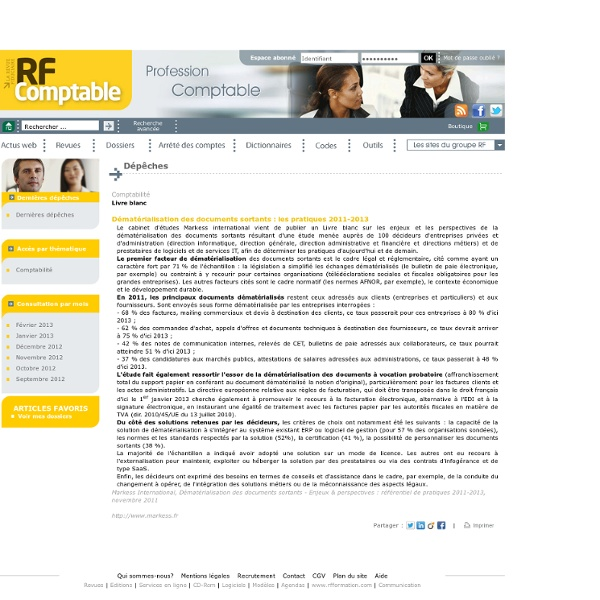 Dématérialisation des documents sortants : les pratiques 2011-2013