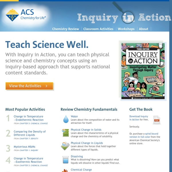Download Free Science Activities, Find information on Workshops, Learn Chemistry Fundamentals