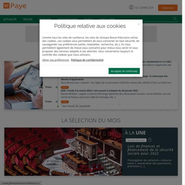 RF Paye - Actualités, Dépêches - Groupe Revue Fiduciaire