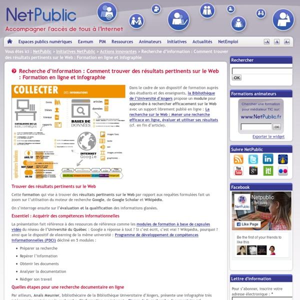 Recherche d'information : Comment trouver des résultats pertinents sur le Web : Formation en ligne et infographie