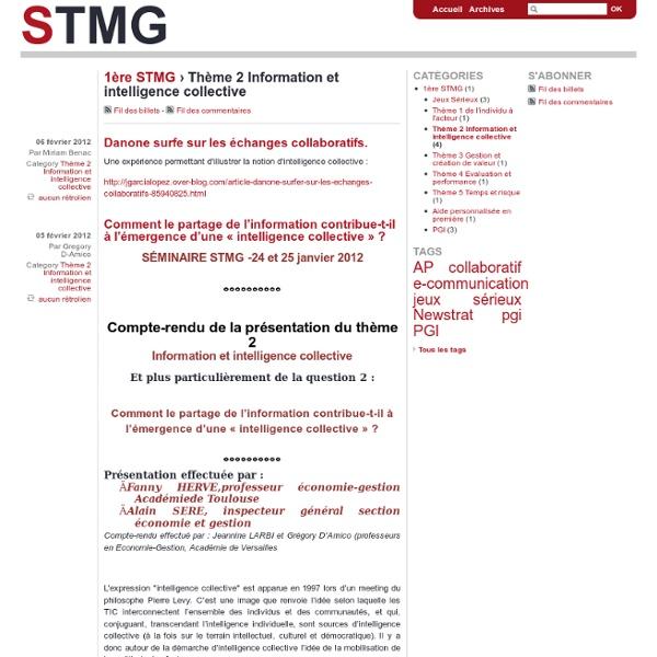 Thème 2 Information et intelligence collective - stmg
