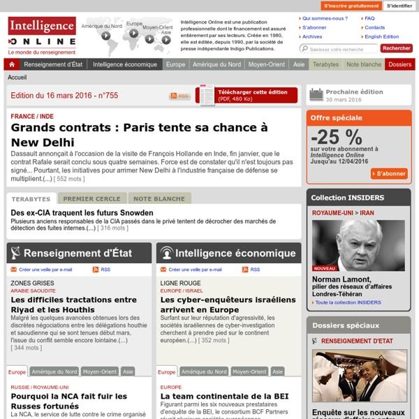 Information stratégique mondiale, économique et politique @ Intelligence Online