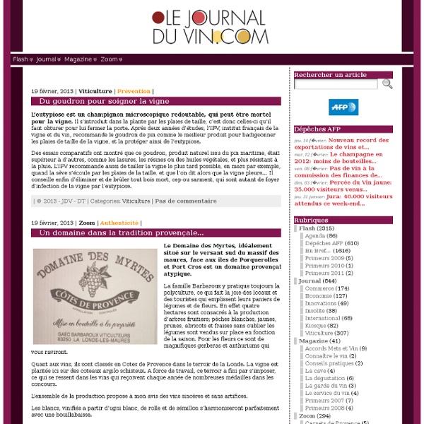 Journal du vin - Bienvenue sur le Journal du Vin.com - L'essenti