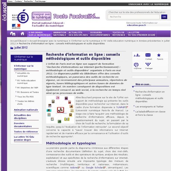 Recherche d'information en ligne : conseils méthodologiques et outils disponibles — Éduscol Numérique, le site des professionnels de l'éducation