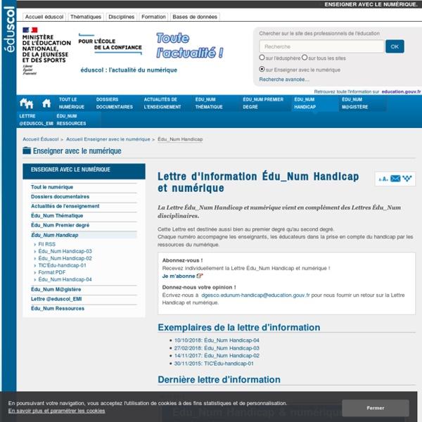 Lettre d'information Édu_Num Handicap et numérique