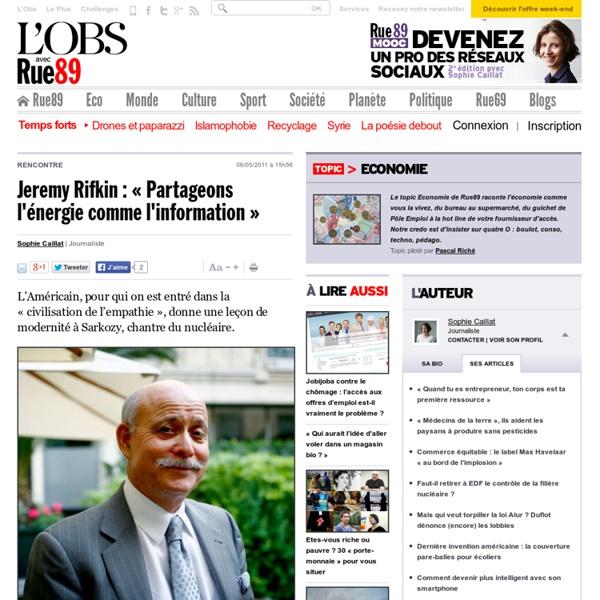 Jeremy Rifkin: «Partageons l'énergie comme l'information»
