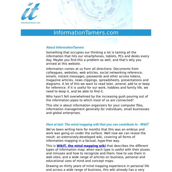 Taming Information - Information organizers, information management and methods