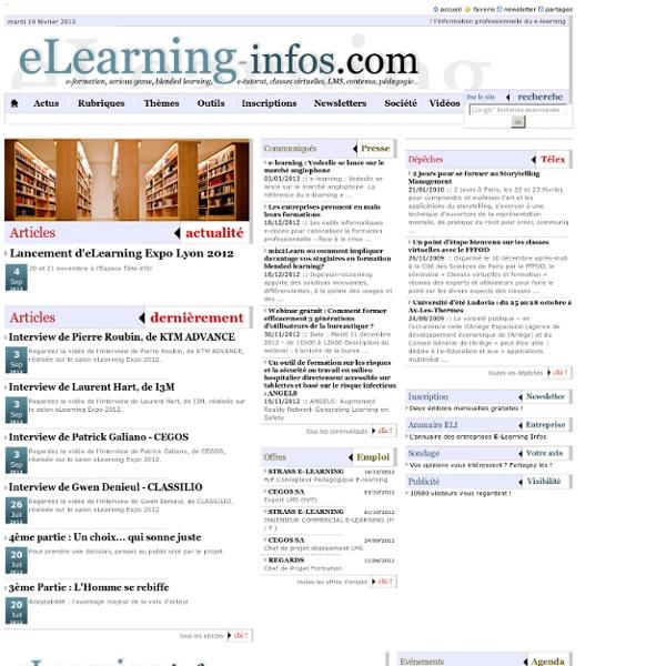 E-LEARNING-INFOS : toute l'information professionnelle dédiée à l'e-learning et la formation en ligne