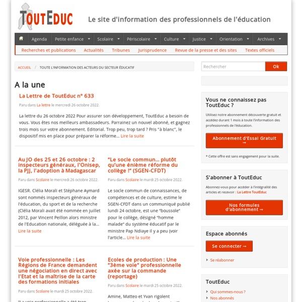 L'information des professionnels de l'éducation
