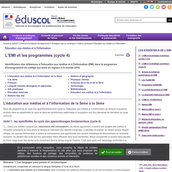 Éducation aux médias et à l'information - L'éducation aux médias et à l'information et les programmes (cycle 4)