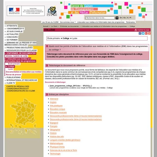 Collège - L'éducation aux médias et à l'information dans les programmes - S'informer, se documenter