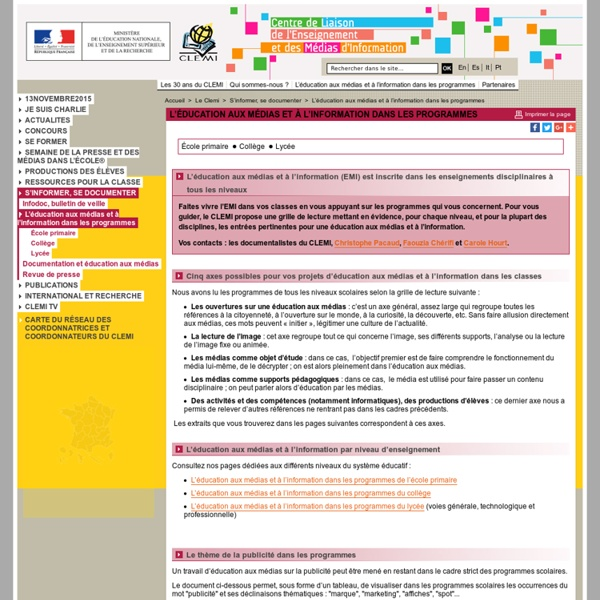 L'éducation aux médias et à l'information dans les programmes - S'informer, se documenter