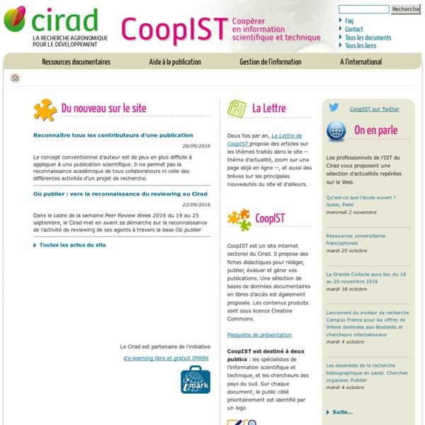 Coopérer en information scientifique et technique - Cirad