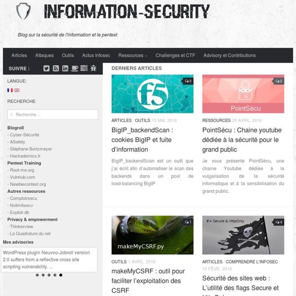 Information Security - Blog sur la sécurité de l'information et le pentest