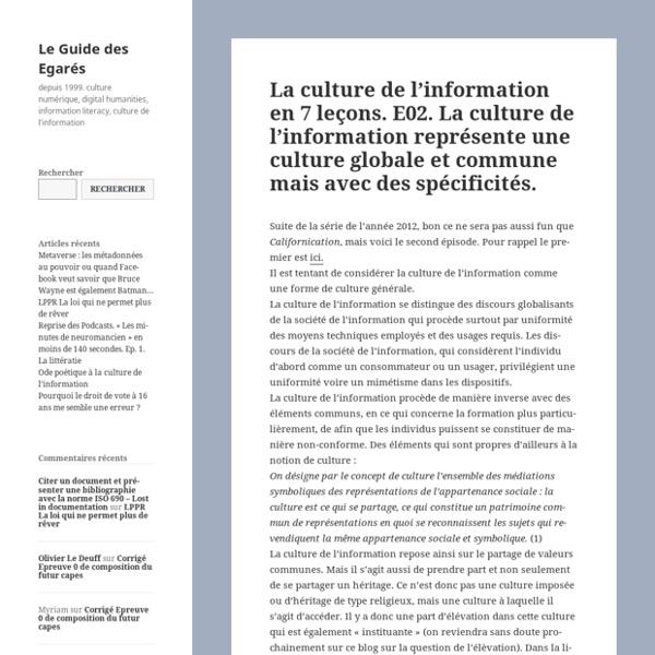 La culture de l'information en 7 leçons. E02. La culture de l'information représente une culture globale et commune mais avec des spécificités.: