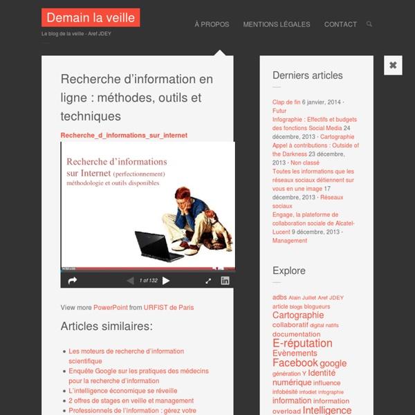Recherche d'information en ligne : méthodes, outils et techniques