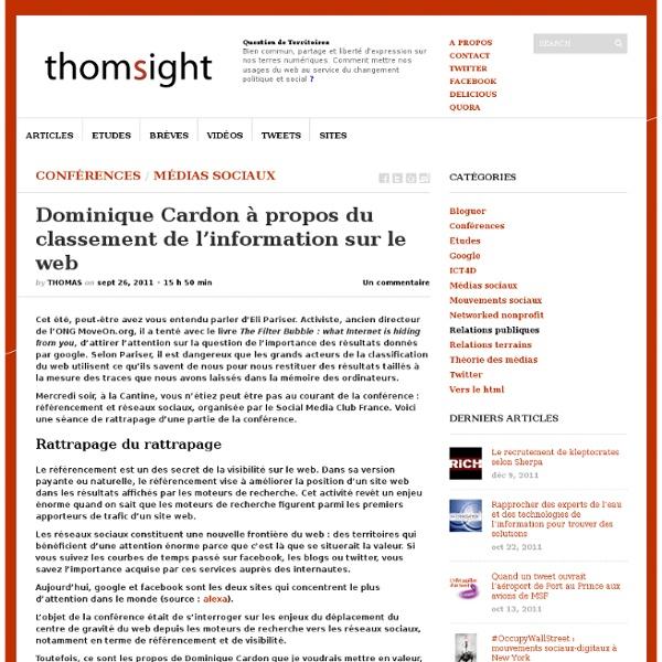 Dominique Cardon sur le classement de l'information sur le web