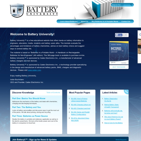 Basic to Advanced Battery Information from Battery University